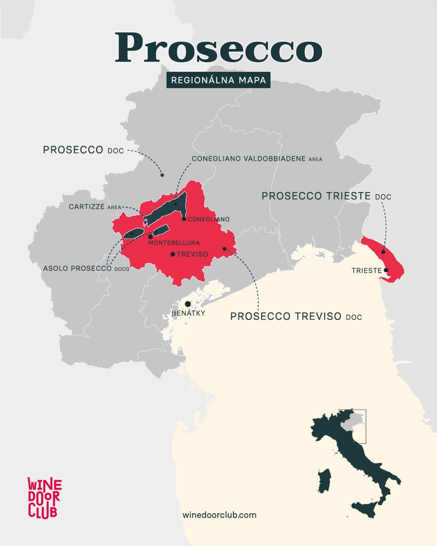 Regionálna mapa talianskeho prosecca.